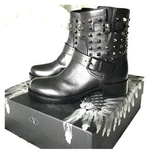 "Valentino ""Rockstud Rolling"" Noir Biker Boots"